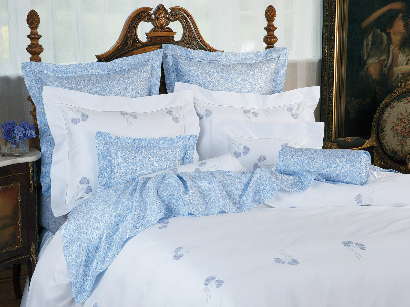Hydrangea Blossoms Luxury Bedding Italian Bed Linens
