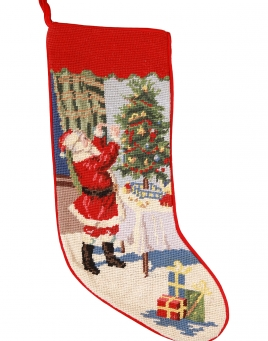 Christmas Stockings: Santa Trimming a Tree